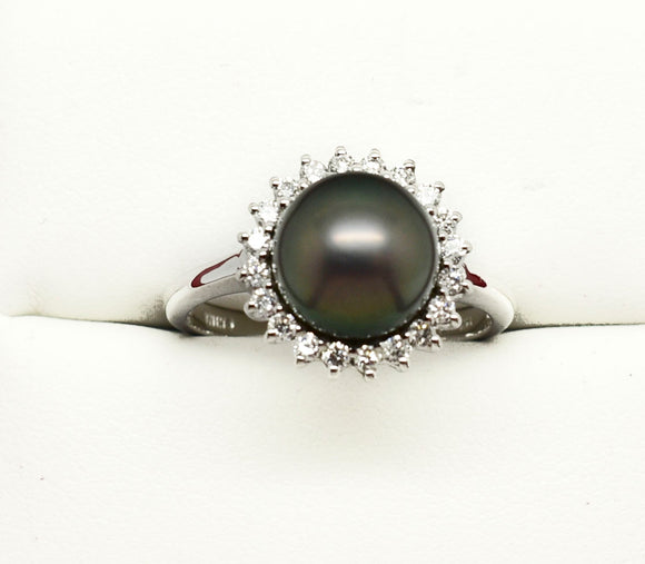 14K TAHITIAN PEARL RING  .20 CT  DIAMOND 8.5mm BLACK  4.3g  NEW
