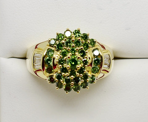 .57 CT GREEN DIAMOND RING 14K Solid Gold w/White Diamond Baguettes - NEW