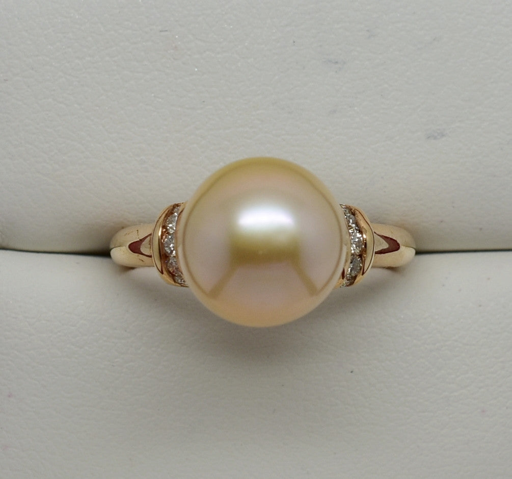 10.3mm Pale Pink Pearl & .20 cttw Natural Diamond Ring 14k Rose Gold NWOT