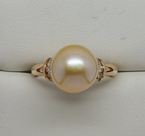 SOLD 10.3mm Pale Pink Pearl & .20 cttw Natural Diamond Ring 14k Rose Gold NWOT