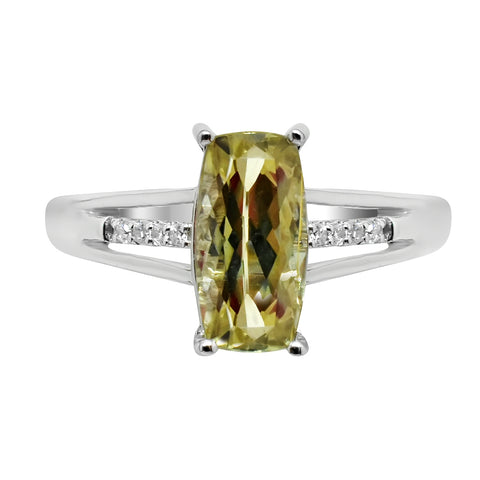 1.84 Ct. Natural Zultanite & .04 Ct. Diamond Solitaire Style Ring 14k Solid Gold Cert Of Auth BR03879