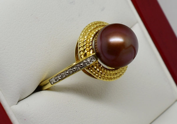 9.25mm Chocolate Freshwater pearl ring - 14k Solid Gold size 7 twisted rope design