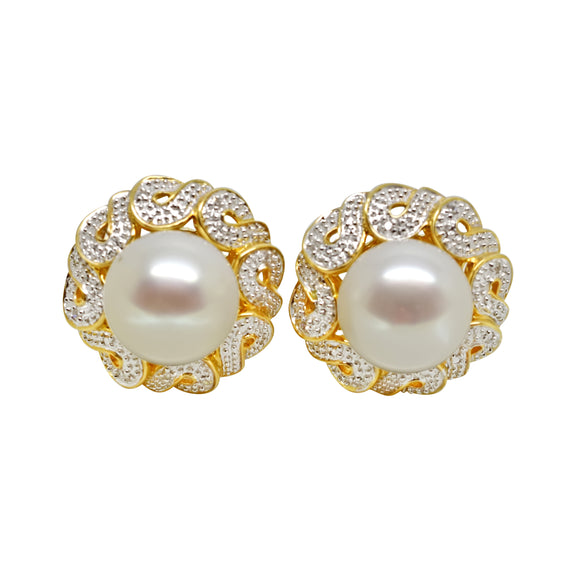14k Solid Gold 10mm Freshwater Pearl & .06 ct Natural Diamond Earrings NWOT 012