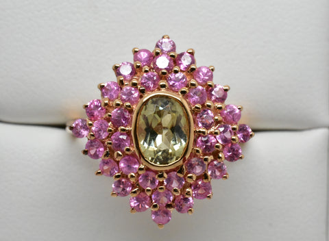 1.23 Ct. Zultanite & 1.30 Ct. Pink Sapphire Ring 14k Solid Rose Gold Size 8 BR02644