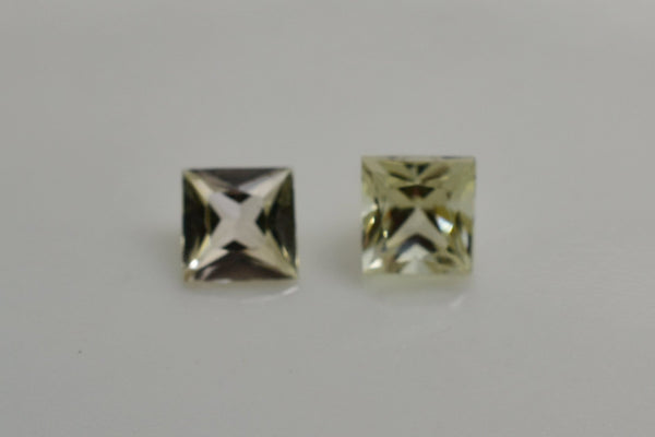 0.73 Cttw Pair of Natural Zultanite Loose Gem Gemstones - 3.9mm Princess Cut w Cert of Authorization B034