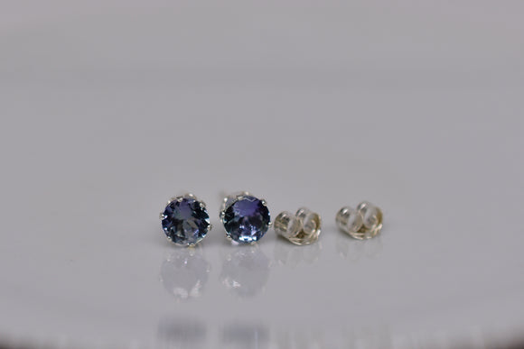 5mm Natural Tanzanite Pierced Earrings in .96 Ct. Round Cut Faceted Stud Sterling Silver settings Handmade in USA