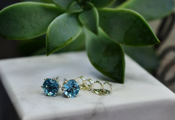 5mm Natural Swiss Blue Topaz Stud Pierced Earrings in Sterling Silver 1.12 cttw Round Cut - Top Color Stones!