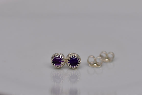 4mm Natural Amethyst Pierced Earrings in Round Cut Cabochon Stud Sterling Silver Princess Crown settings Includes Display Box & Shipping
