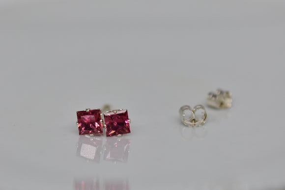 4mm Natural Pink Tourmaline Pierced Earrings in .78 Ct. Princess Cut Faceted Stud Sterling Silver settings Handmade in USA