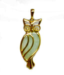 Jade Owl Pendant Gold Plated Sterling Silver Natural Diamond Accents NEW 172