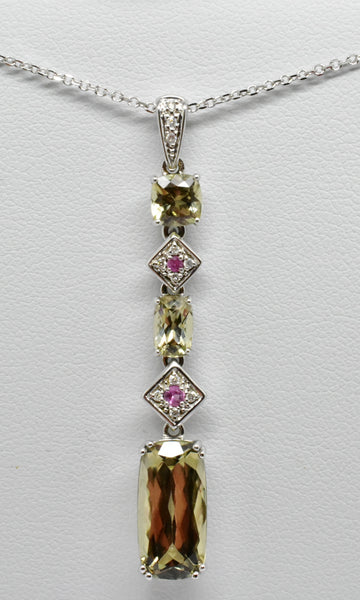 5.26 Cttw. Natural Zultanite & .06 Ct. Pink Sapphire .05 Ct. Diamond Pendant Cert Of Auth P6012682