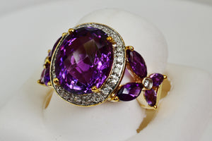 7.6 Cttw Amethyst & Diamond Ring 10k Solid Gold Checkerboard Top NEW 315