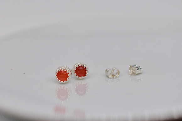 4mm Natural Carnelian Pierced Earrings in Round Cut Cabochon Stud Sterling Silver Princess Crown settings Includes Display Box & Shipping