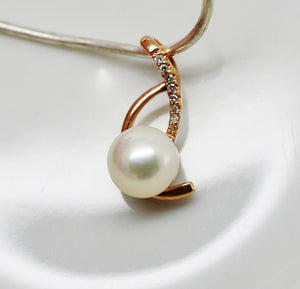 PEARL & Natural DIAMOND Rose Gold Wishbone Pendant 10k Solid Gold - NWT 134