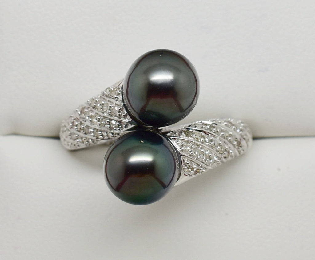 SOLD .25 Ct. Diamond and double Black Pearl Bypass Ring 9k Solid Gold NEW 394