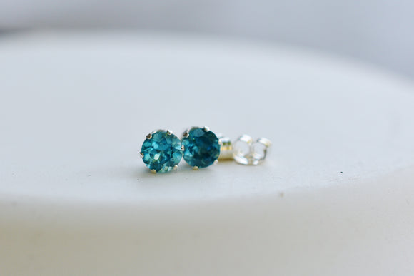 1.26 Ct Natural Blue Zircon Stud Pierced Earrings in Sterling Silver 5mm Round Cut Eye Clean stones - December Birthstone