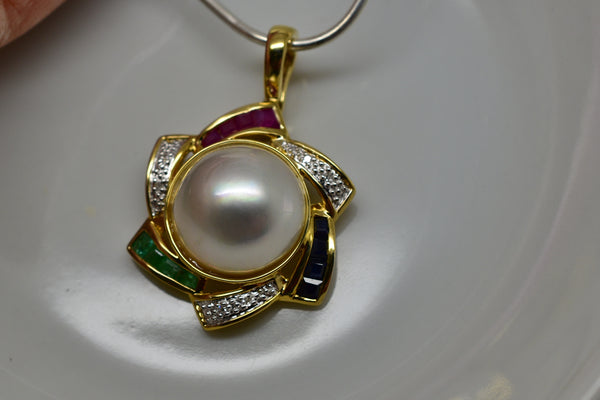 13mm Mabe Pearl with Ruby, Emerald, Sapphire & Diamond Enhancer Pendant 14k NWOT