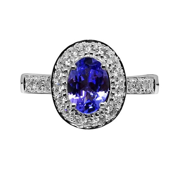 1.5 CT Tanzanite & .25 Ct. Diamond Halo Ring 18k WG