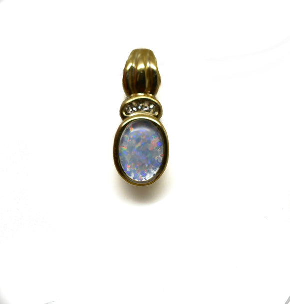 10k Solid Gold Light Blue Opal Triplet & Diamond Pendant - NWOT 122