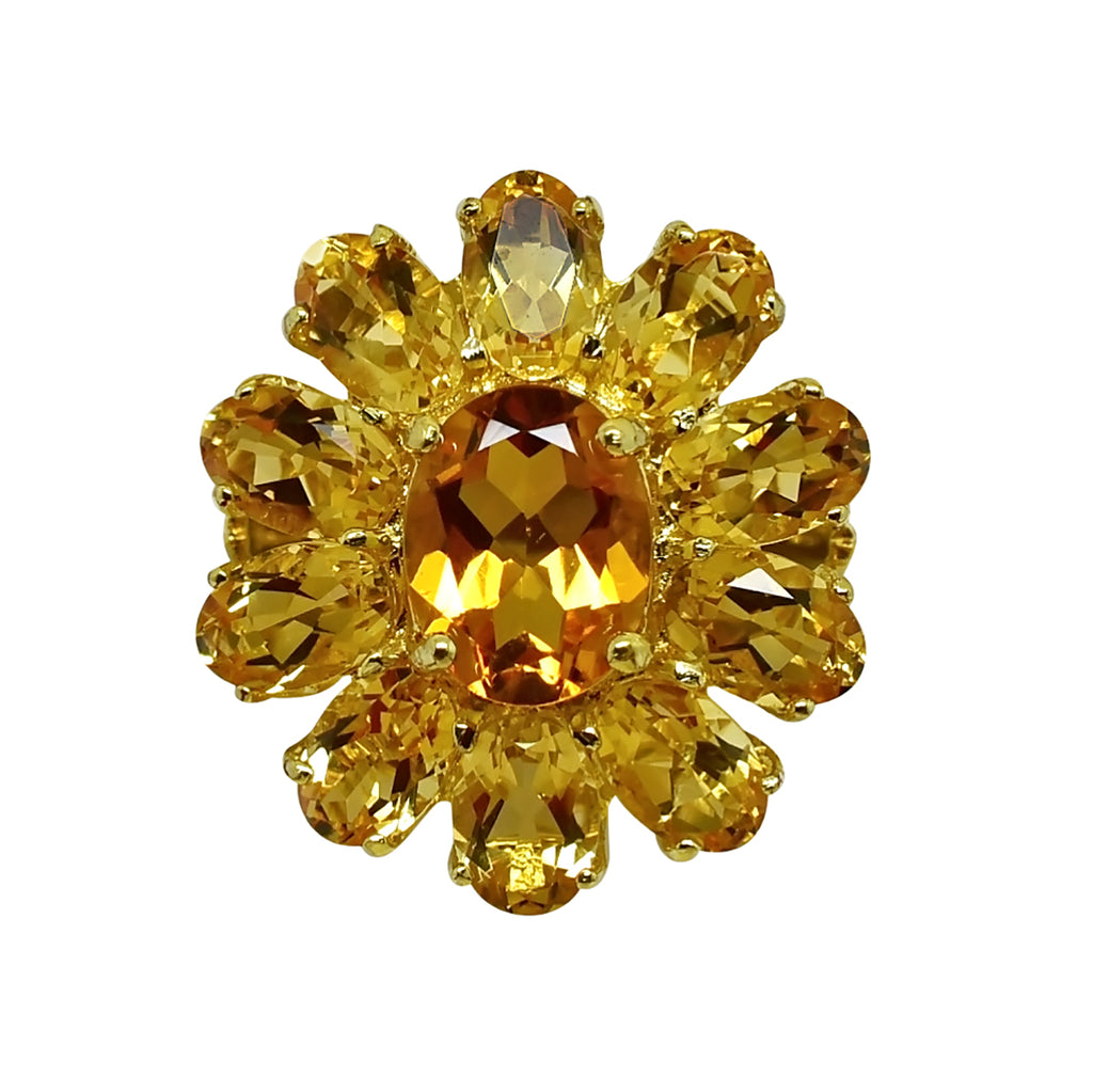 10.25 ct Natural Citrine Cluster Ring in 14k Solid Gold - NWOT 374
