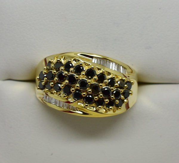 .87 cttw BLACK & WHITE DIAMOND Cluster Ring 14K NEW w Rounds & Baguettes