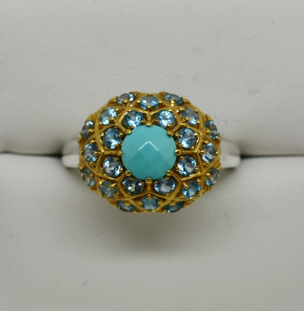 2 CT Blue Topaz & Turquoise Cushion Design Ring 14K Solid Gold Two Tone NEW 307