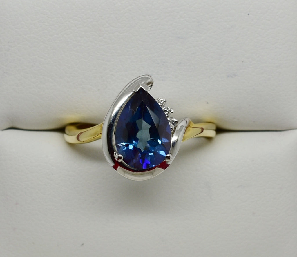 Blue Thunder Mystic Topaz Diamond Accent Ring 14k Two-Tone Solid Gold WG NEW 31J