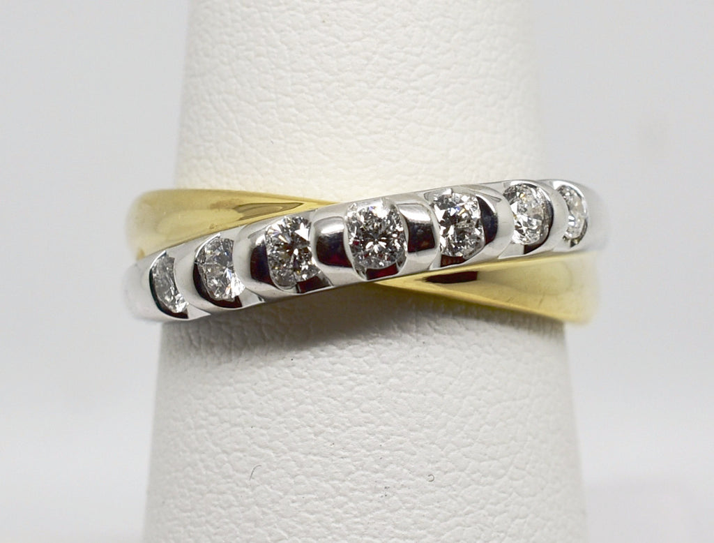 .52 CT Natural Diamond Ring in 14k Solid gold 2-TONE Anniversary Band - NEW