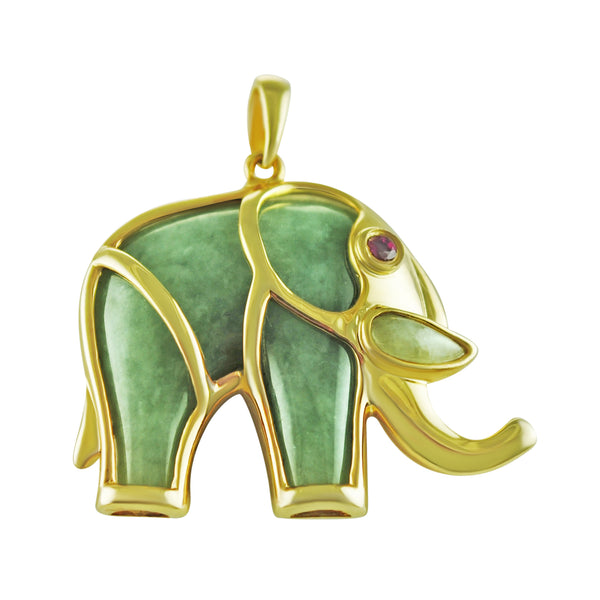 Jade Elephant Pendant Gold Plated Sterling Silver Natural Ruby Accent NEW 169