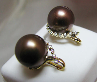 10mm Brown Tahitian Pearl  & .24  Ct. Diamond Earrings 18k Solid gold  NEW 002