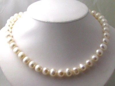 "10-10.5mm Natural Pearl Necklace 14k - NEW, 18"" in length"