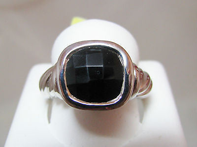 BLACK ONYX RING STERLING SILVER WOVEN LOOK SQUARE 384
