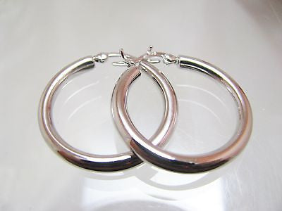 "1"" STERLING SILVER HOOP EARRINGS 3MM WIDE - New 045"