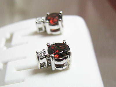 1.2 Ct. Garnet Garnet & Natural Diamond Earrings 14K WG January Birthstone 038
