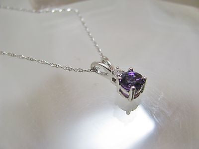 .55 Ct. Natural Amethyst & Diamond Necklace Pendant 14k solid gold NEW 150