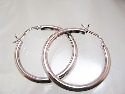 "1 1/4"" STERLING SILVER HOOP EARRINGS 3MM WIDE - New 046"