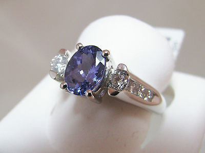1.2 CT TANZANITE & .32 Ct DIAMOND 3-Stone Ring 18K WG NEW 30R