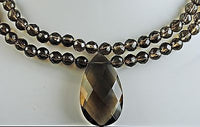 SOLD Double Strand Faceted Smokey Quartz Necklace w/ 52 Carat Drop Pendant in 14k