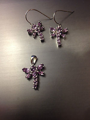 Natural Amethyst Dragonfly Pendant and Earrings Jewelry Set Sterling Silver - NEW 633