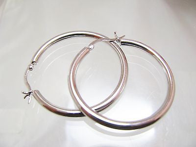 "1 1/2"" Polished Sterling Silver Hoop Earrings 3MM WIDE - New 047"