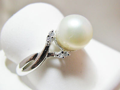 10k Freshwater Pearl & .06 Ct Diamond Twisted Design Ring NWOT 30P