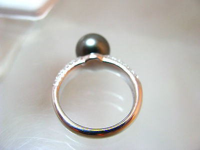 10mm Black Silver overtone TAHITIAN PEARL & .30 Ct. Diamond 14K RING WG 6.8gr