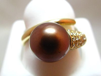 14k Solid Gold Chocolate Tahitian Pearl & .5 Ct Natural Diamond Wrap Ring