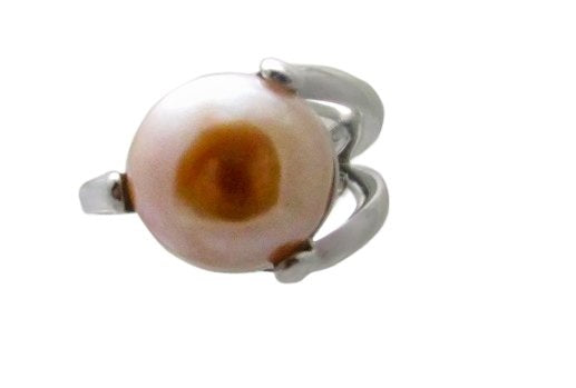 13mm Peach Button Pearl Ring Sterling Silver 9.3 Gr NWOT 3 Prong Wrap design 353