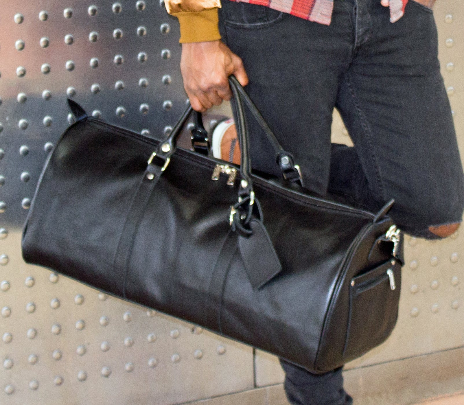 Poor Little Rich Boy One Nighter Leather Duffle Bag