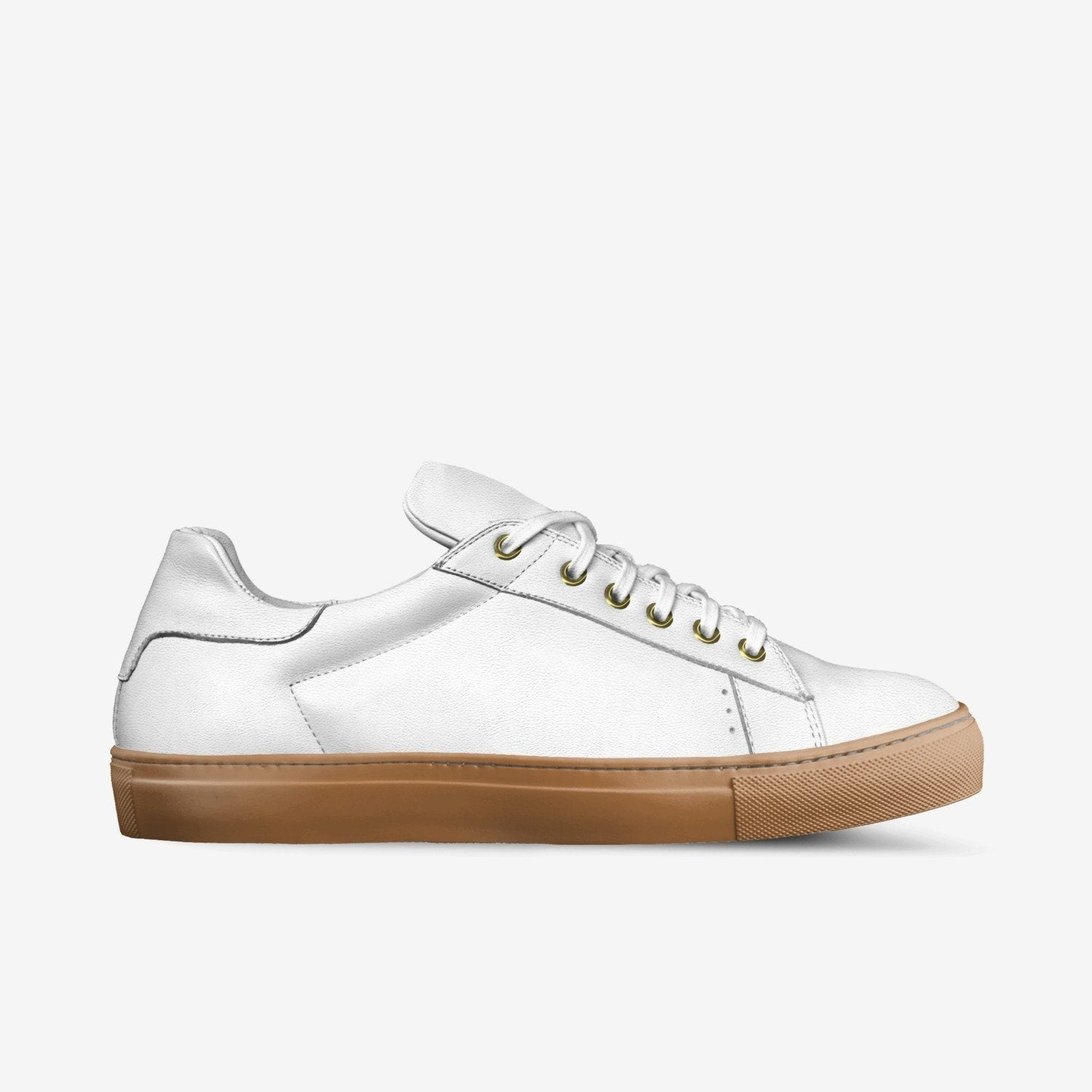 """LORENZO"" LEATHER/GUM SOLE SNEAKERS IN MILK WHITE"