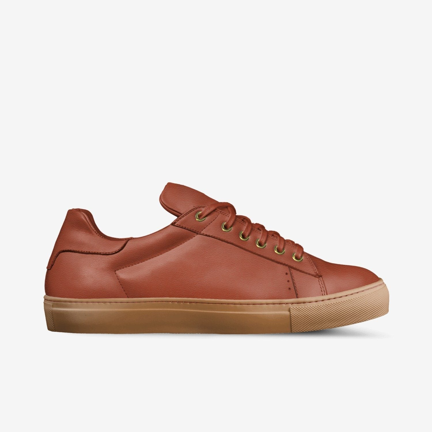 """LORENZO"" LEATHER/GUM SOLE SNEAKERS IN VERMILLION"