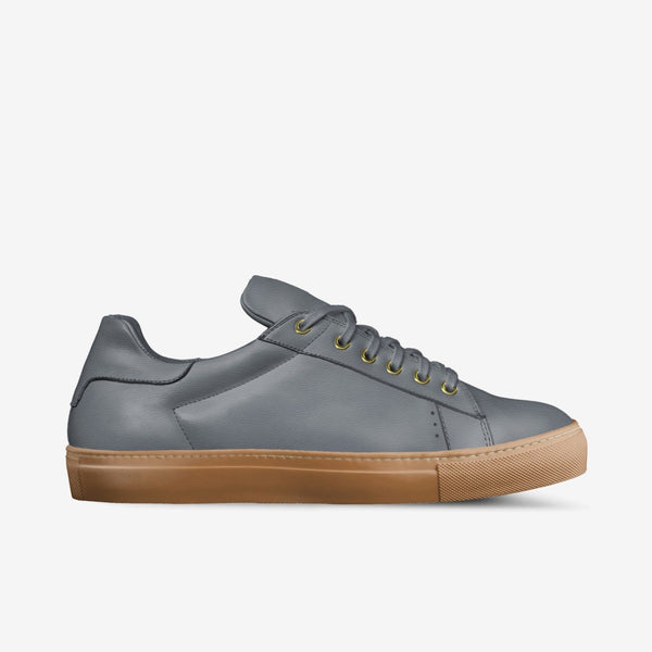 """LORENZO"" LEATHER/GUM SOLE SNEAKERS IN CHELSEA GREY"