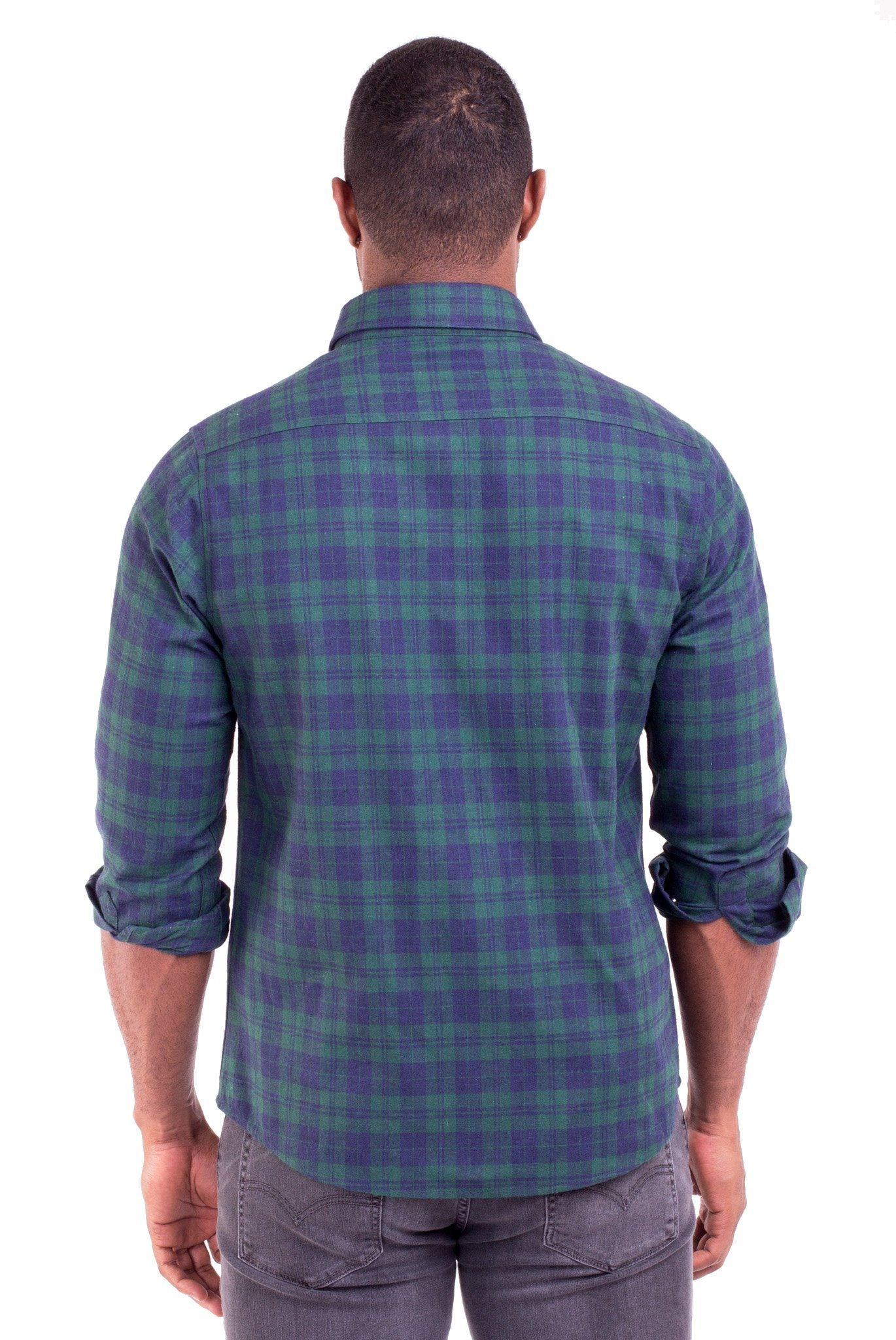 """JOHNNY"" GREEN/BLUE PLAID FLANNEL SHIRT"