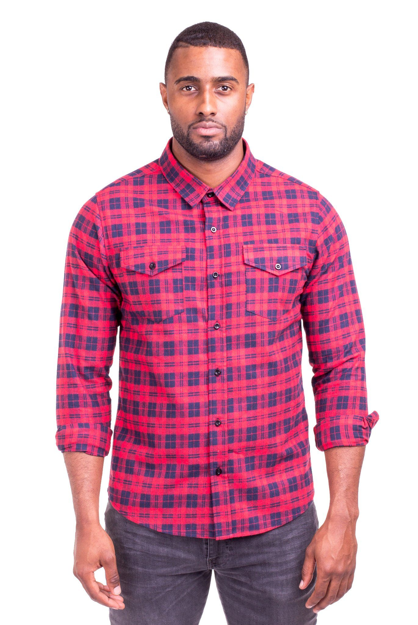 Johnny Red Blue Plaid Flannel Shirt Men S Casual Shirts Poor